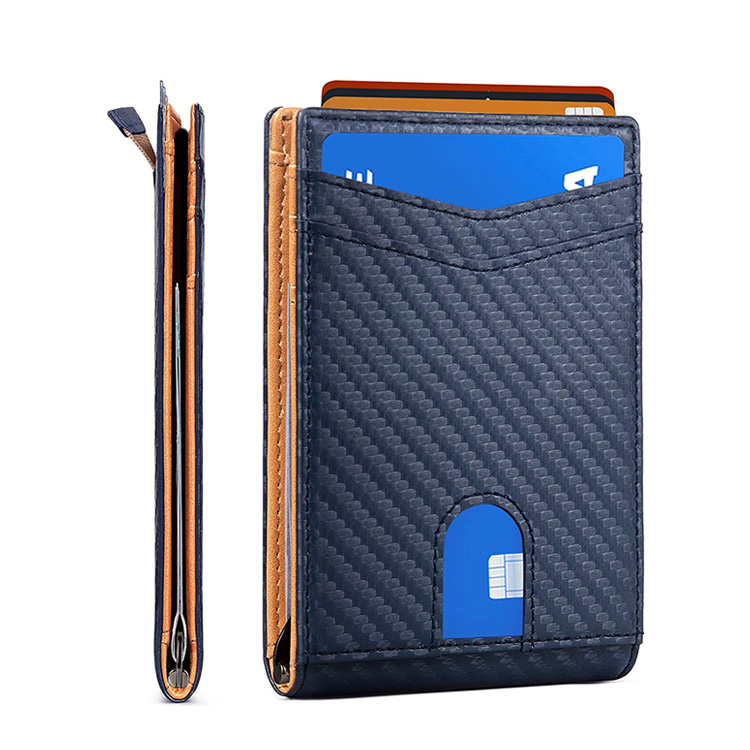 Amazon Hot Custom Men Carbon Fiber RFID Blocking Leather Wallet Credit Card Holder with Money Clip