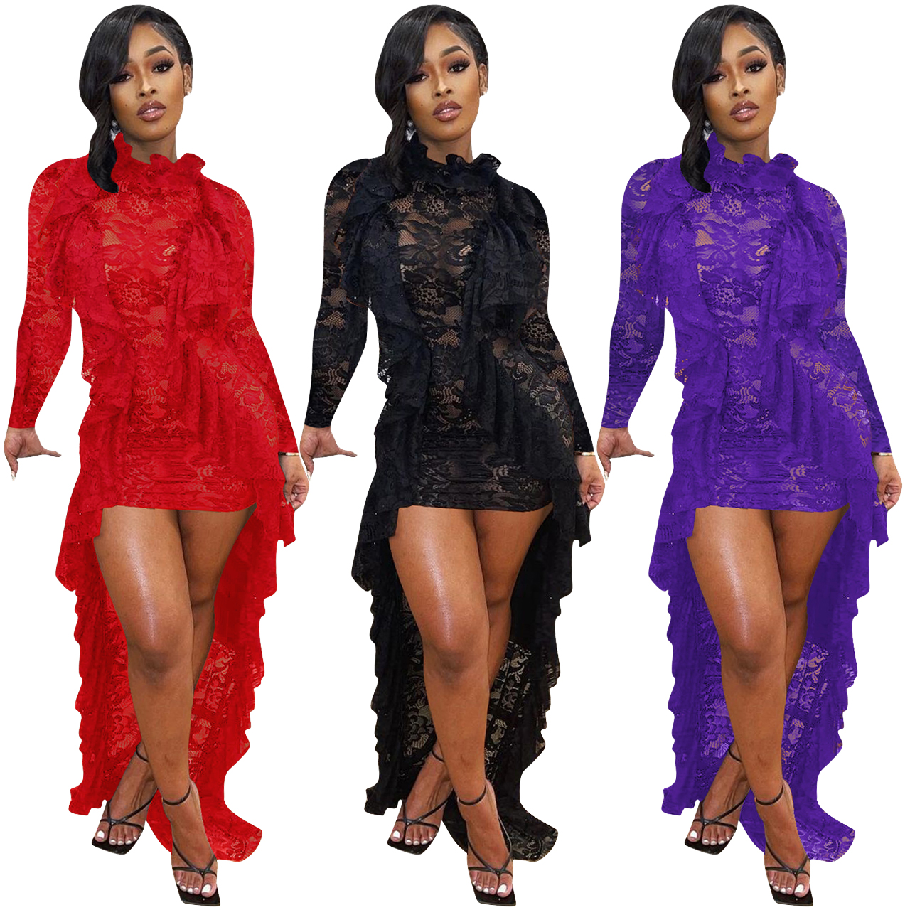 Fashion Ruffle-neck Asymmetrical Style Elegant Faux Two-piece Lace Casual Party Dresses Long Sleeve Floor Women Cocktail Dress