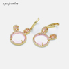 Gold plated pink stone earrings-24