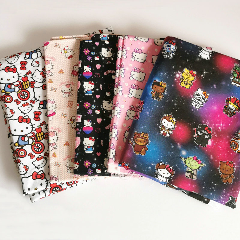 Best Quality fabrics textiles hello kitty wars digital printing cotton for sale fabric wholesale suppliers