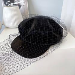 fashion Women black Captain Sailor Hat Newsboy Cabbie Baker Boy Peaked Beret snake skin PU Leather fiddler hat with mesh veil