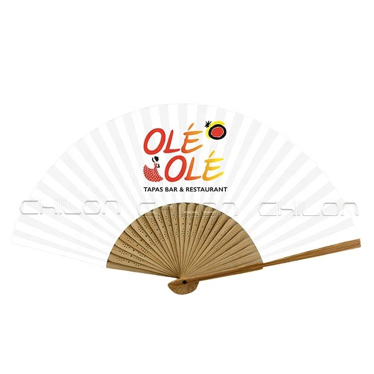 Рекламный складной бамбуковый Ручной Веер, ребра чайного цвета с пользовательским логотипом