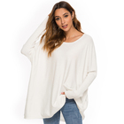 Sleeve Pullover Europe Style Off The Shoulder Round Neck Batwing Sleeve Solid Color Pullover Blank Knit Sweater