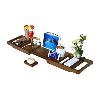 Luxury Expandable Organizer Free Soap And Wine Glass Holder Bathroom Bathtub Caddy Tray Bamboo