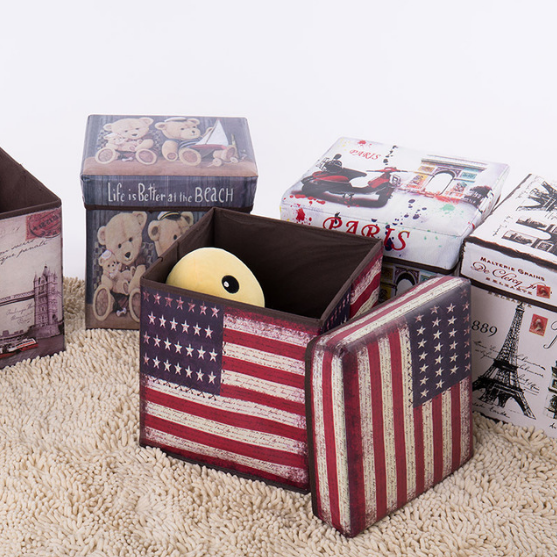 Colorful Printed Folding Storage Ottoman /Storage Stool Box/Storage Seat