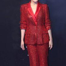 Женский блейзер с блестками, красные брюки с широкими штанинами, костюм для свадебной вечеринки, деловая одежда, Женский комплект из двух пр...(Китай)