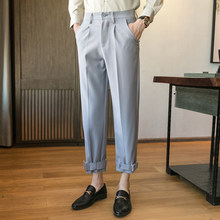 Мужские брюки-шаровары, модные повседневные деловые брюки до щиколотки для свадебной вечеринки 2020(Китай)