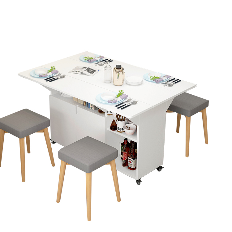 wholesale Modern wooden small dining room space saving folding banquet table set space saving furniture