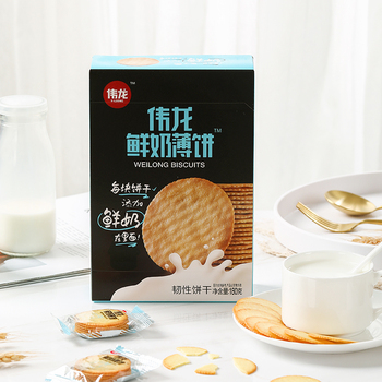Weilong Fresh Milk Biscuit Cracker Factory Direct Sales Add Fresh Milk Biscuit Leisure Healthy Snack Meal Replacement Biscuit