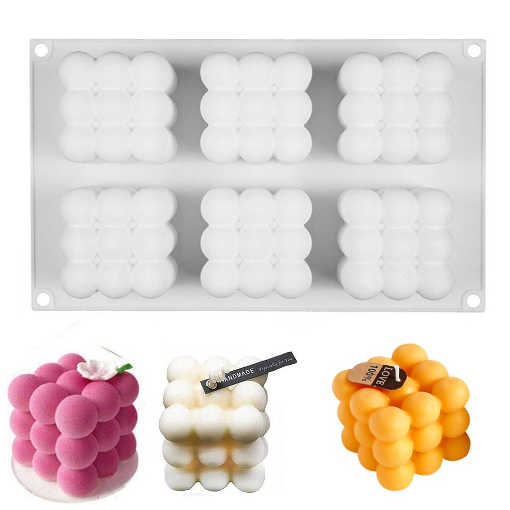 Fusimai 6-Cavity large Square Candle Mould 3D Magic Cube Bubble Silicone Candle Molds