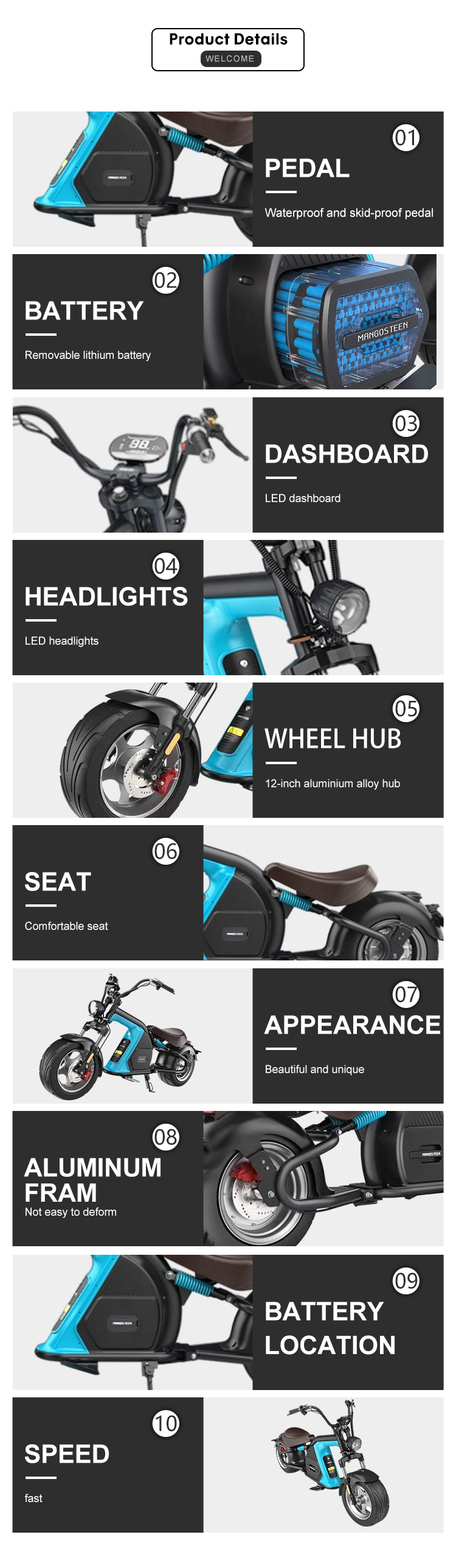 Europe Stock mangosteen M8 2000w 20ah 30ah citycoco chopper electric motorcycle eec coc scooters electric