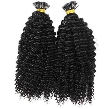 Wholesale Indian Virgin Remy Human I-Tip Hair Extension Kinky Curly #1 Jet Black I Tip Human Hair Extensions