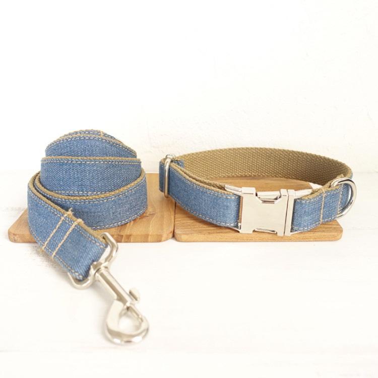 Hot Selling Custom Logo Dog Collar And Leash Set Rose Gold Pet Dog Metal Buckle Collar Personalized in Bulk