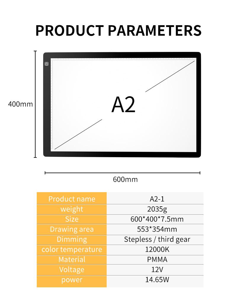 A2 светодиодный лайтбокс, доска для рисования, настольная панель, копировальная доска с функцией памяти, 3 уровня яркости для художника