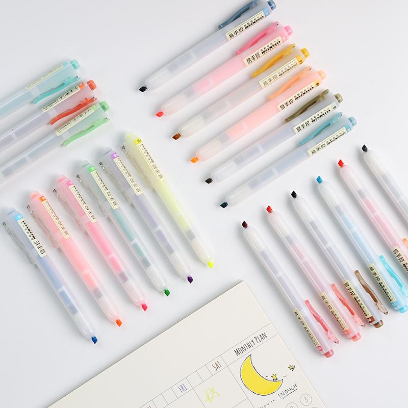24 стиля мультяшная ручка с надписью пластиковая гелевая ручка маленький свежий стиль ученик с защитой глаз цветной маркировкой хайлайтер JIUMO