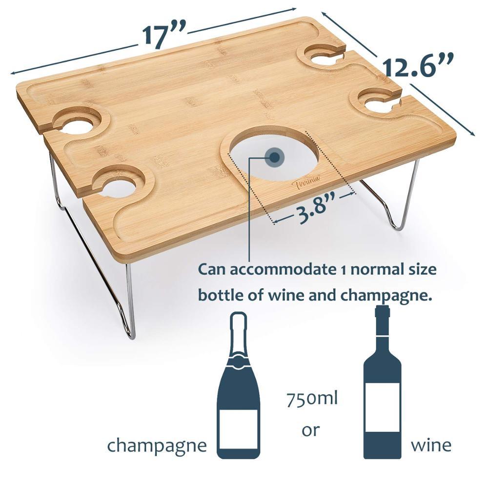 Бамбуковый портативный винный столик и пазл для вечеринки, стол для пикника на открытом воздухе