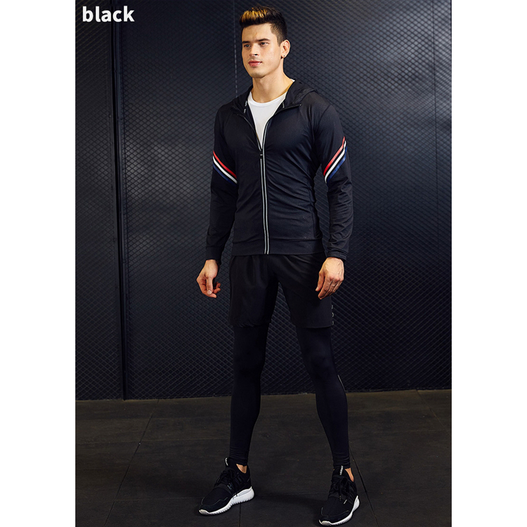 Quick-drying breathable fitness clothes men's safety reflective design sports training suit 3-piece set