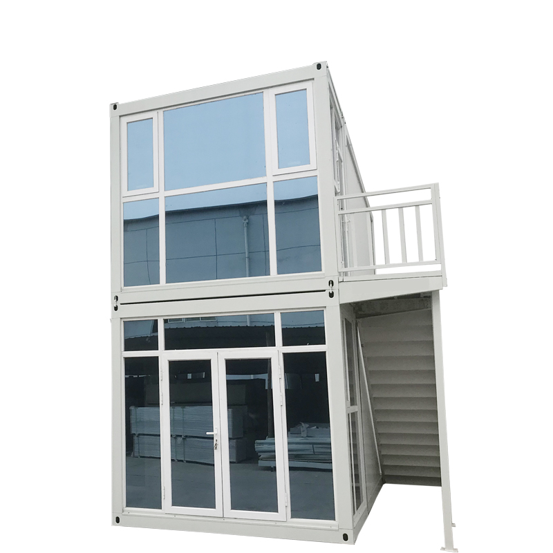 two story glass Container Modular Prefabricated House 1 bedroom container house