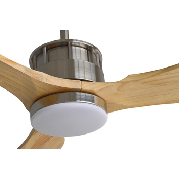 Natural wood blades 220v Low power energy saving project ventilation 3 color led light dc ceiling fan