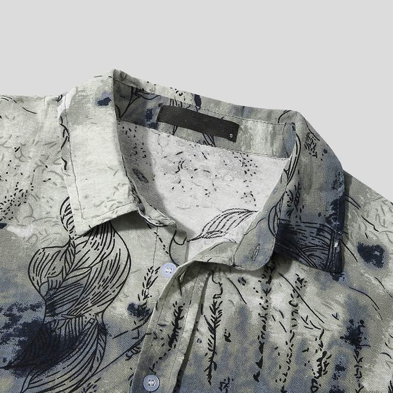 Custom Logo OEM Printed Men Casual Shirt Cotton Streetwear Lapel Short Sleeve Fashion Brand Shirts Leisure Camisa Masculina