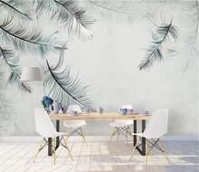 Пользовательские обои 3d фотообои papel де parede стена в скандинавском стиле простая и элегантная Мураль Блюз перо 3d обои(Китай)