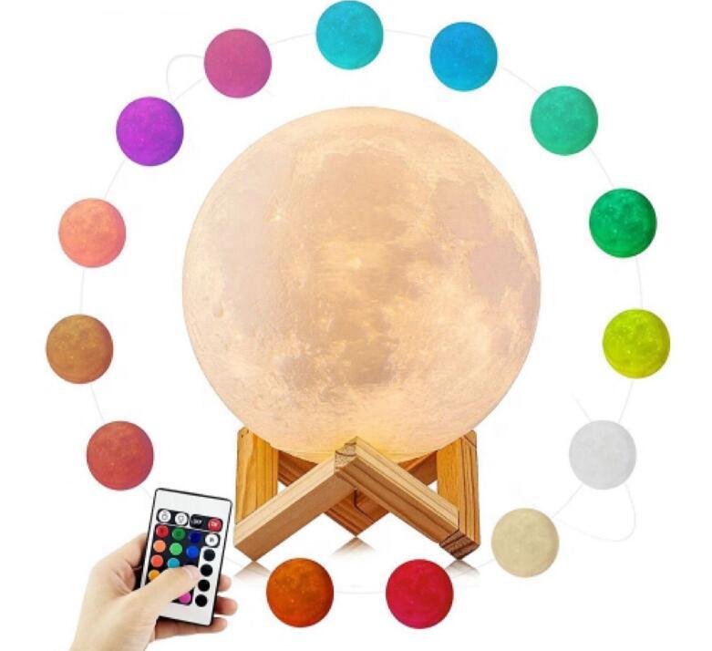 YJN5403 2021 16 цветов сенсорный датчик дистанционного управления USB пользовательский маленький светодиодный 3D Печатный лунный светильник