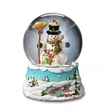 Hot sale New Year custom Gifts led light snow ball scene Musical Christmas Snow Globe
