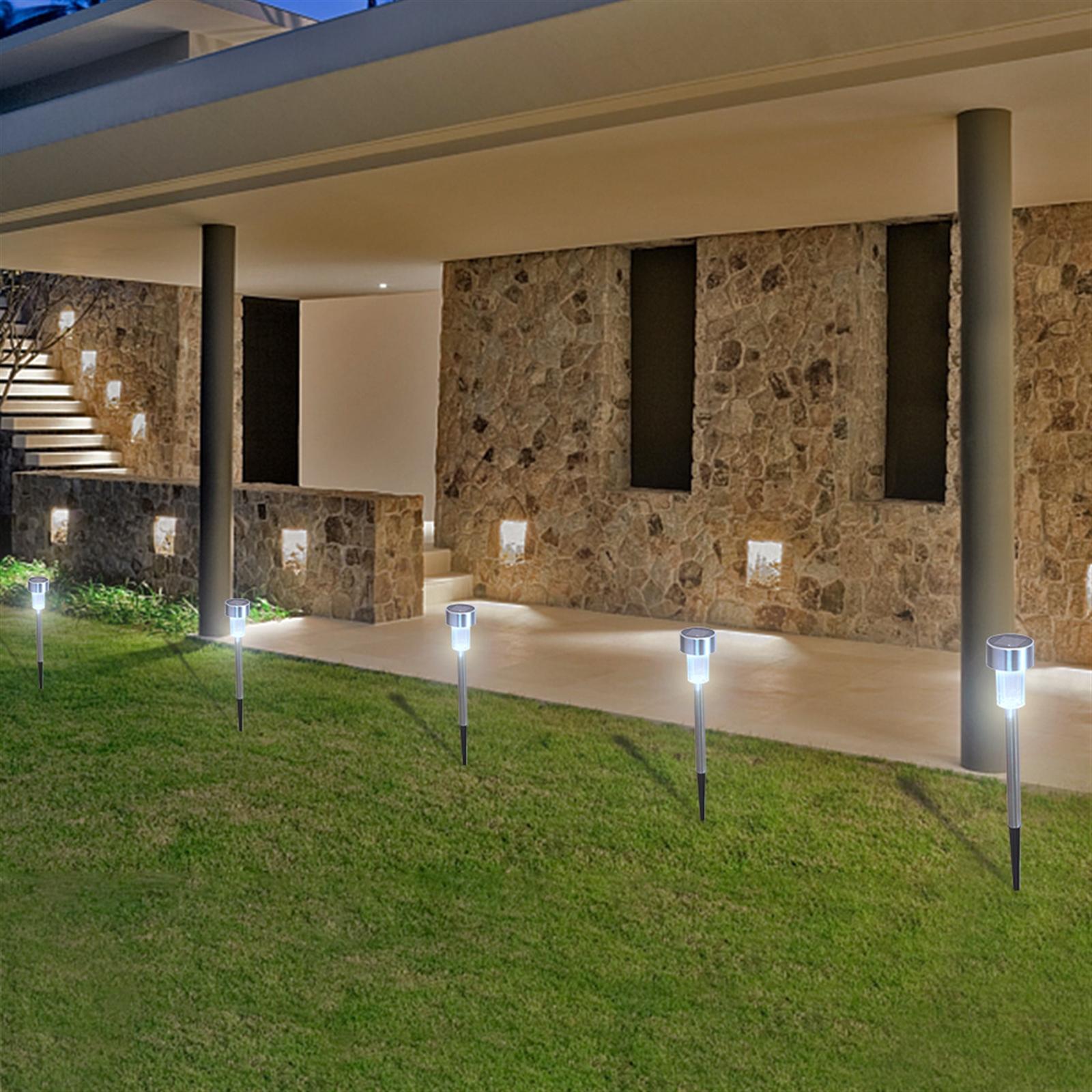 Бесплатная доставка в США и Великобританию, 10 шт., 5 Вт, светодиодные садовые светильники высокой яркости на солнечной энергии с абажуром
