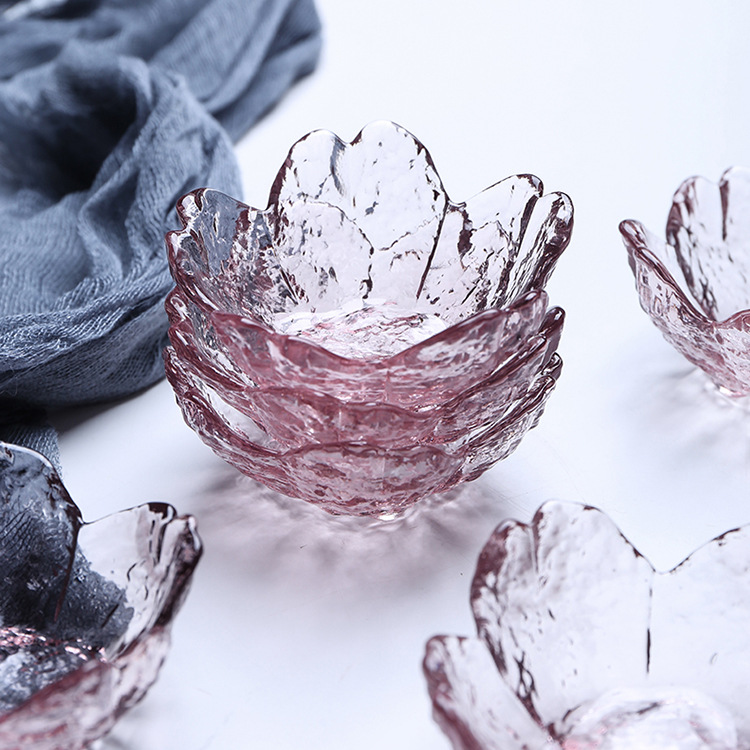 Pink petals home dipping crystal glass sauce seasoning dish