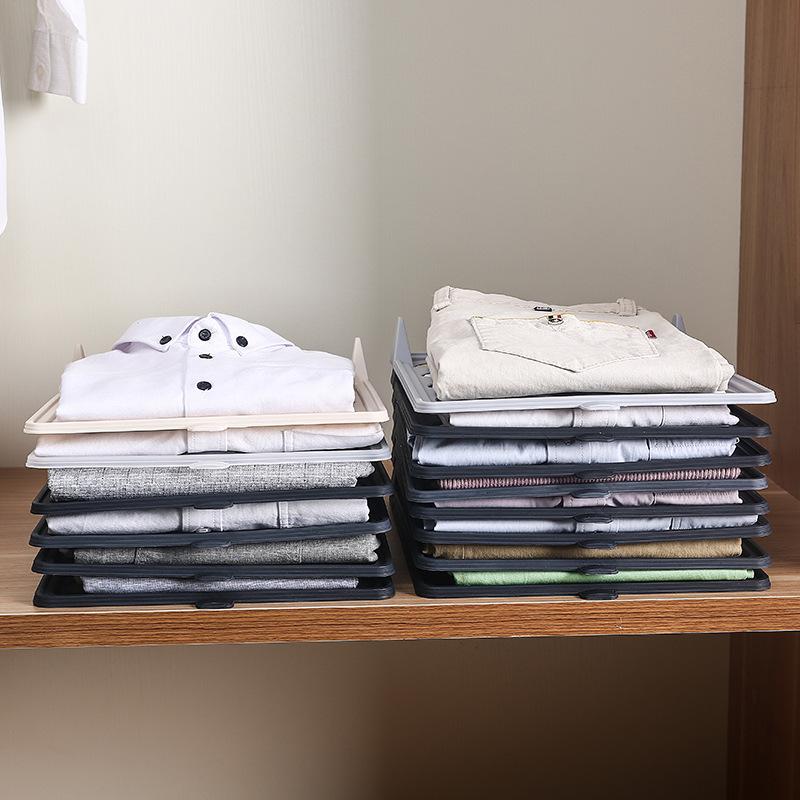 Closet Organizer and Shirt Folder Foldable Stackable Folded T-Shirt Clothing Organizer
