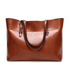 Leather casual handbags female vintage bag tote handbag with large space