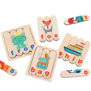 Creative New Design Spelling English Game Kids Logical Thinking Wooden Toy Educational High Quality Strip Puzzle