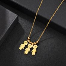 Персонализированное ожерелье с подвеской из нержавеющей стали для мальчиков и девочек, женское детское ожерелье с гравировкой имени и даты...(Китай)