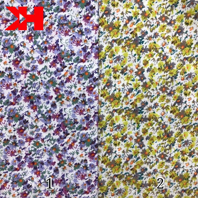 voile plain digital printed cotton lawn textile fabric