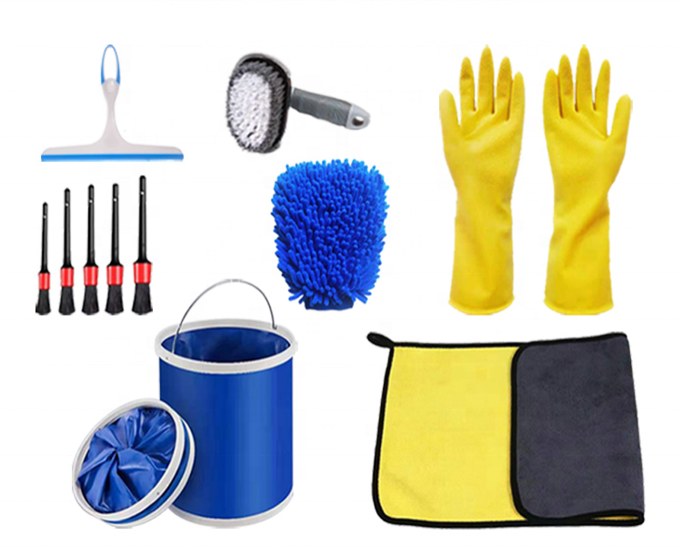 High quality new car handle washing clean tools cleaning brush wash bucket kit