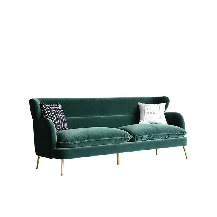 Nordic light luxury velvet  cloth art  simple modern dark green  living room sofa