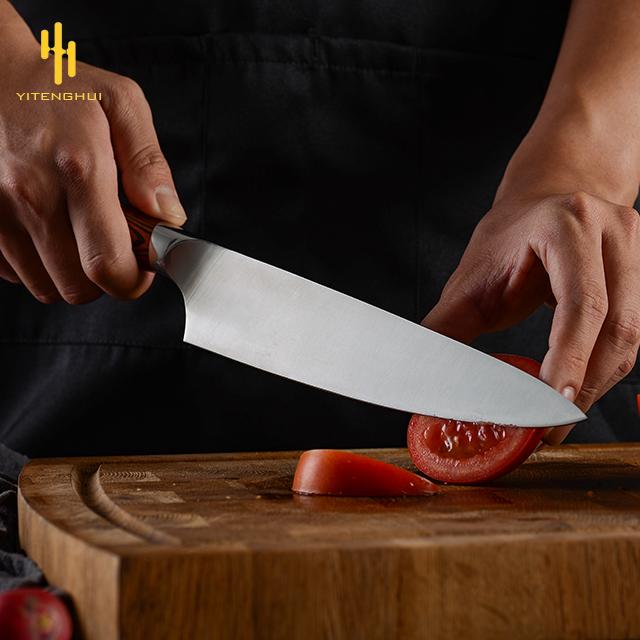 Amazon best-selling 8-inch chef knife 5CR15 molybdenum-vanadium 2.5mm steel head kitchen knife environmental color wood