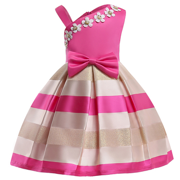 High Quality Fashion Lovely Designs For 4yr Child Girls Soft Crafted Bowknot Decorated Sleeveless Floral Patterned Dress