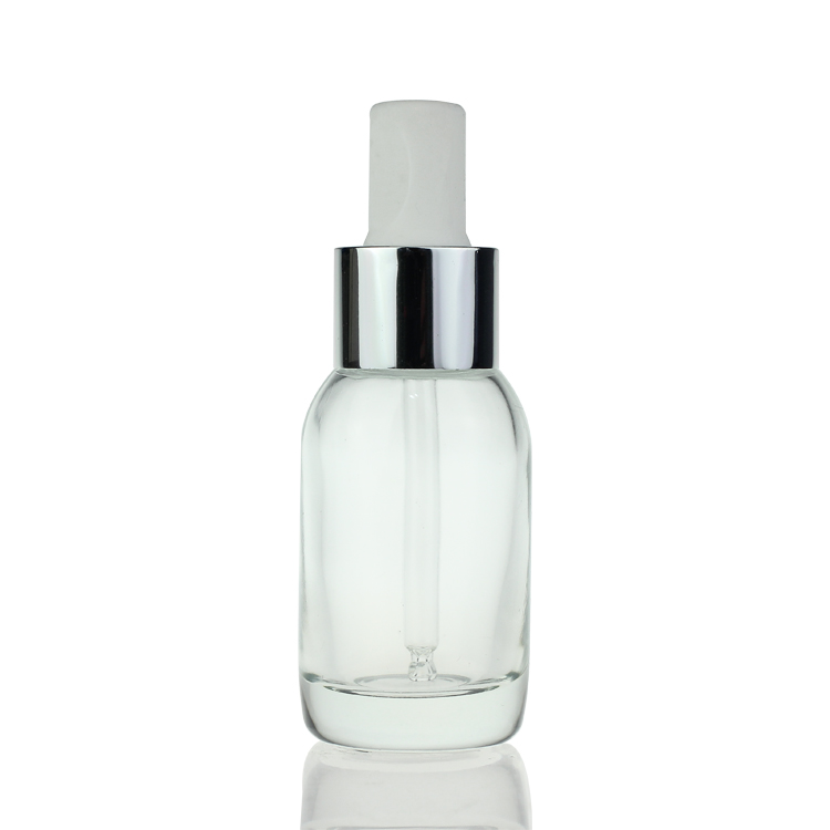 Cosmetic Empty Clear Frosted Dropper Round Serum 50ml Glass Bottle
