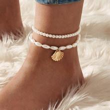 17KM богемные хрустальные браслеты для женщин, цветной камень браслет на ногу многослойный браслет на ногу пляжные черепахи лодыжки ювелирны...(Китай)