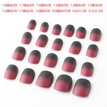 1 Набор, 24 шт., элегантные, винно-красные, рождественские, новогодние накладные ногти, нажмите на ногти, искусственные Кончики ногтей с клеем, ...(Китай)
