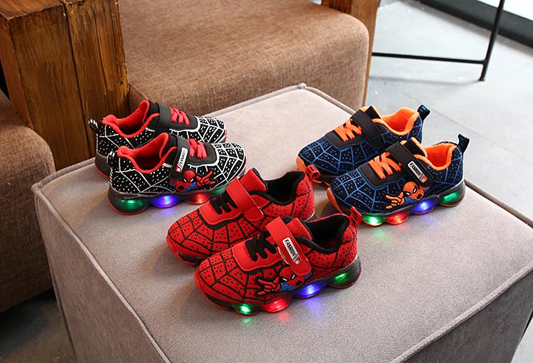 2021 детская обувь светодиодная для легкой обуви детская обувь паук