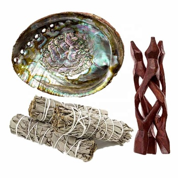 Abalone Shell Smudging Kit With 2xWhite Sage, 1xNatural Untouched Raw Abalone Shell, 1xWood Shell Stand,