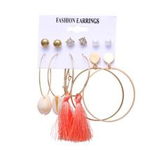 EN богемный Модный комплект жемчужных серег, Дамский Леопардовый цвет с кисточками, акриловый серьги, дамские шпильки, подарочные аксессуар...(Китай)