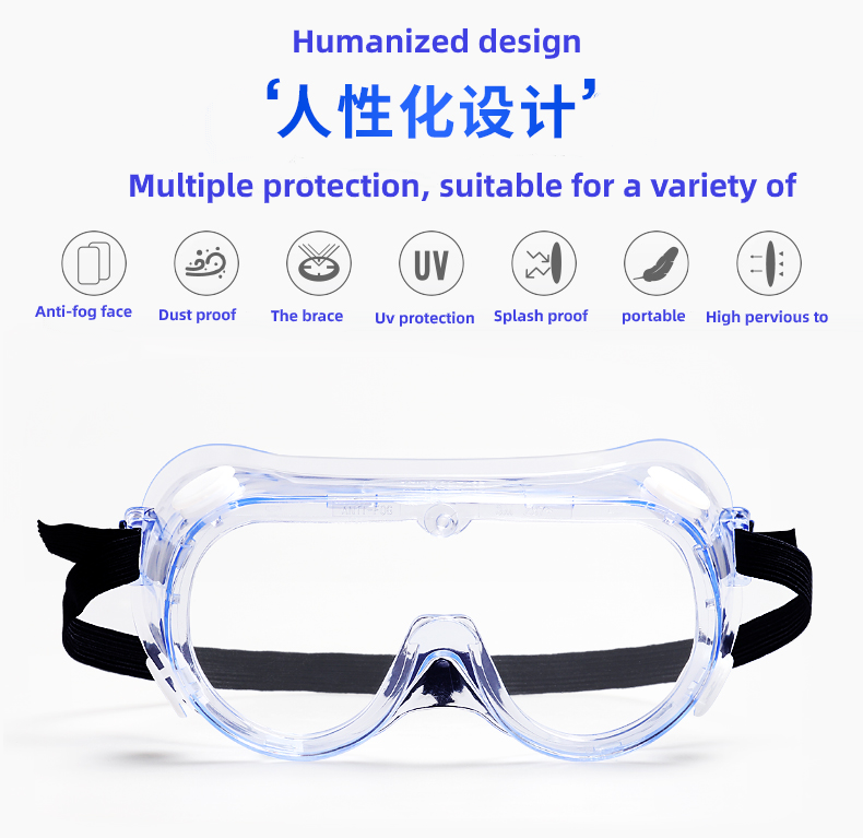 Transparent Plastic Anti Fog Eye Protective Safety Glasses Goggles