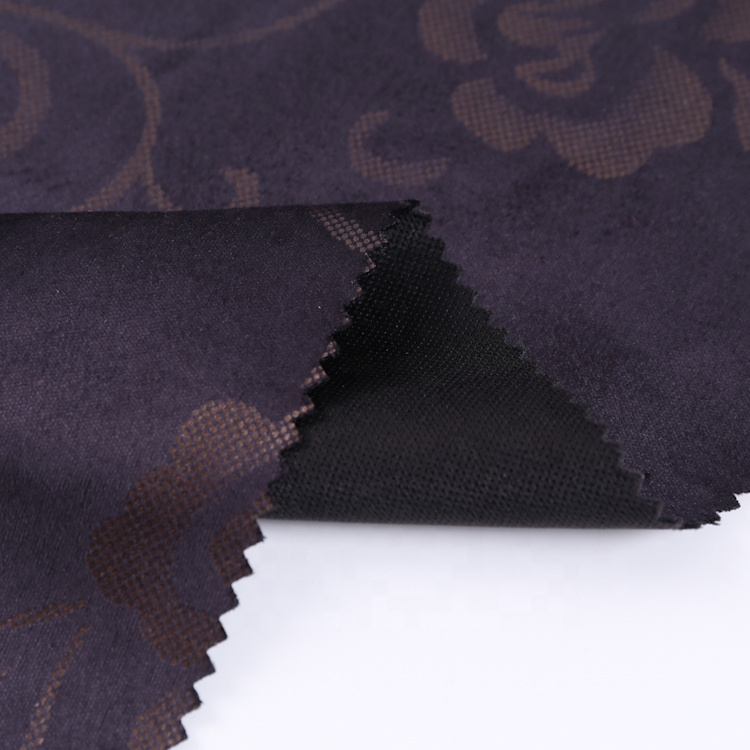 Hot selling polyester foil bonded suede for woman coat new printed logo knitting fabric