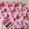 Pink customized boxes with ribbon