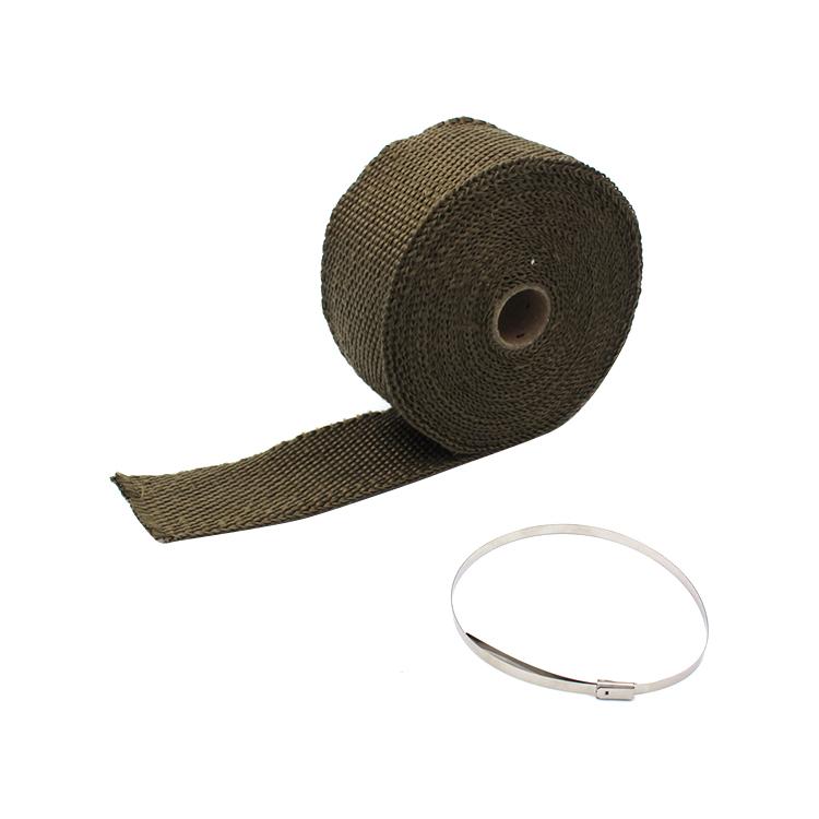 10m x 5cm Titan Abw/ärme Wrap Roll Tape Auto Motorrad Abw/ärme Rohr Wrap mit 10 St/ück Edelstahl Krawatten f/ür Motorrad Abw/ärme Wrap