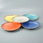 Porcelain Porcelain Ceramic Dinner Plate Colour Wholesale Color Glazed Ceramic Porcelain Restaurant Kitchen Dinner Dishes Plates