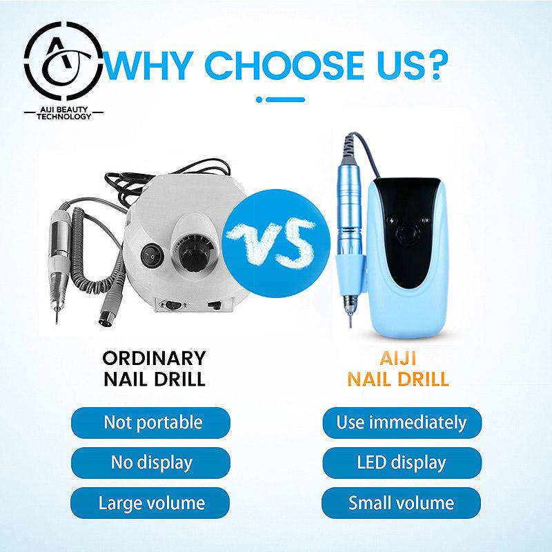 Aijitech drill bit manicure 35000 portable nail bit holder diamond bits OEM ODM Dropshipping nail drill